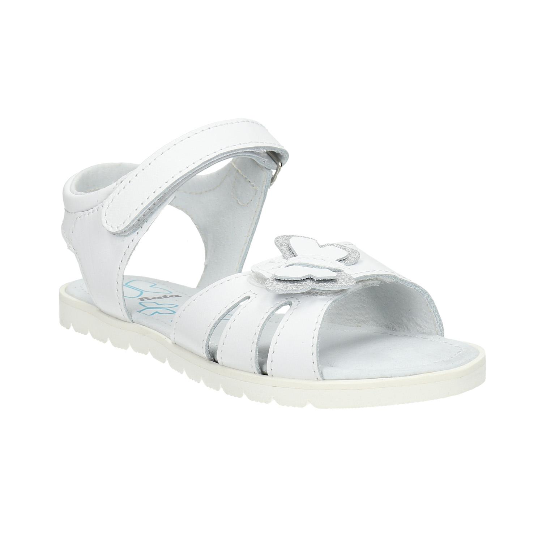 Kožené dívčí sandály bílé