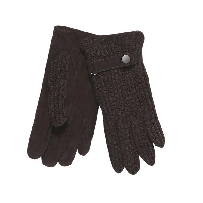 Pánské rukavice s pleteninou bata, hnědá, 909-4295 - 13