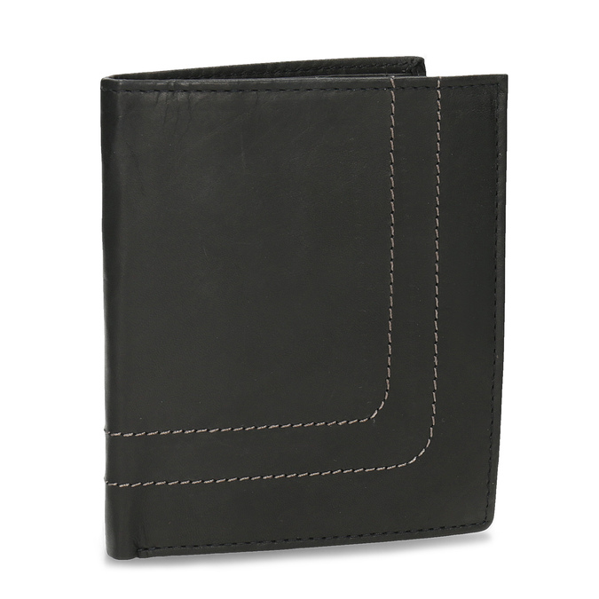 Kožená peněženka s prošitím bata, hnědá, 944-6148 - 13