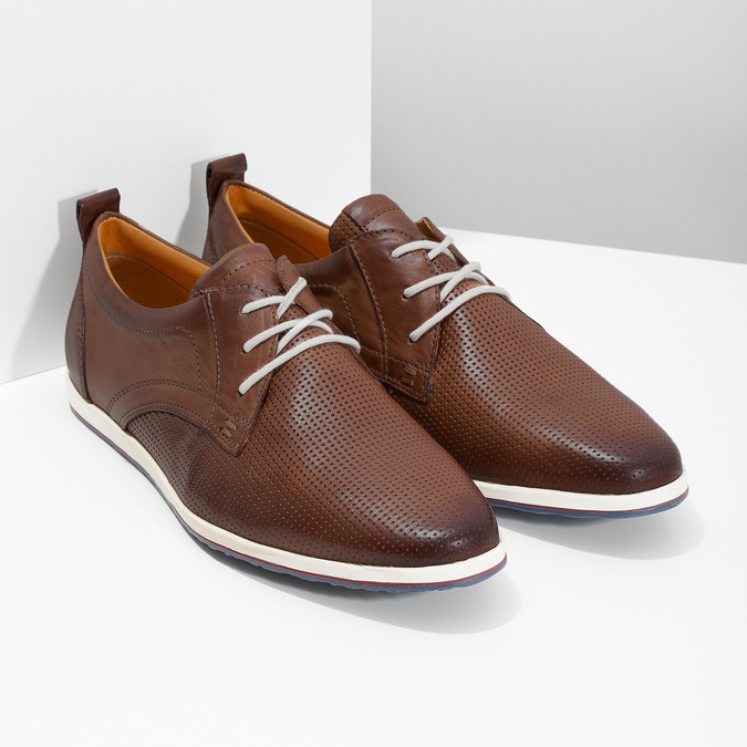Ležérní kožené tenisky bata, hnědá, 824-4124 - 26