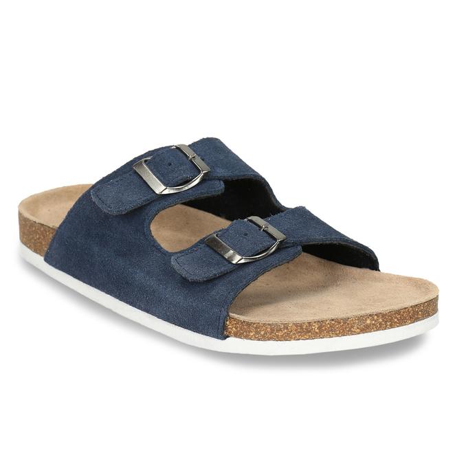 Kožená domácí obuv pánská de-fonseca, modrá, 873-9610 - 13