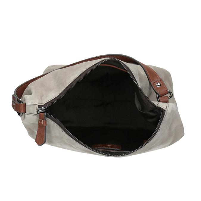 Kožená kabelka v Hobo stylu bata, šedá, 963-2130 - 15