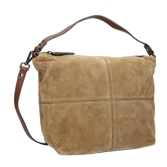 Kožená kabelka s prošitím bata, hnědá, 963-3130 - 13