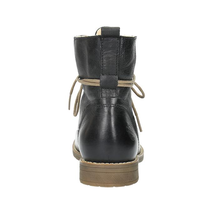 Kožená kotníčková obuv se zateplením bata, černá, 594-6610 - 17