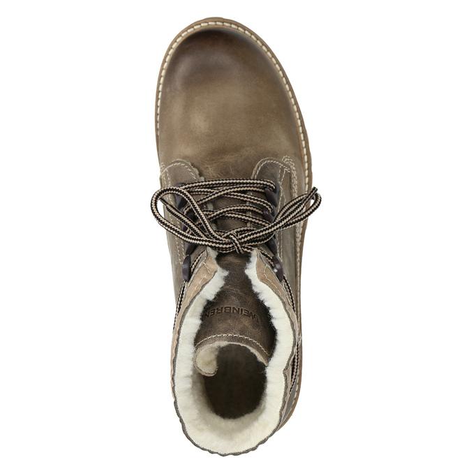 Kožená zimní obuv s kožíškem weinbrenner, hnědá, 594-2491 - 15