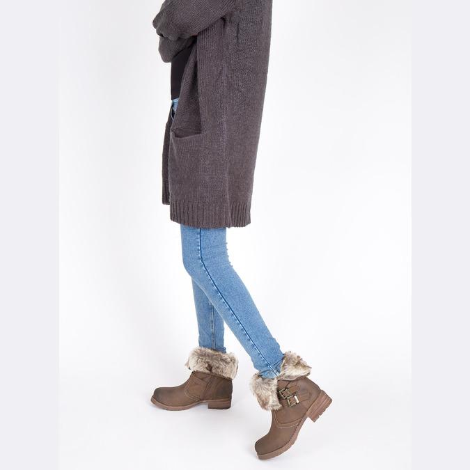 Dámská kotníčková obuv s kožíškem bata, hnědá, 591-4601 - 18