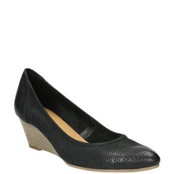 Kožené lodičky na klínovém podpatku bata, černá, 626-6638 - 13