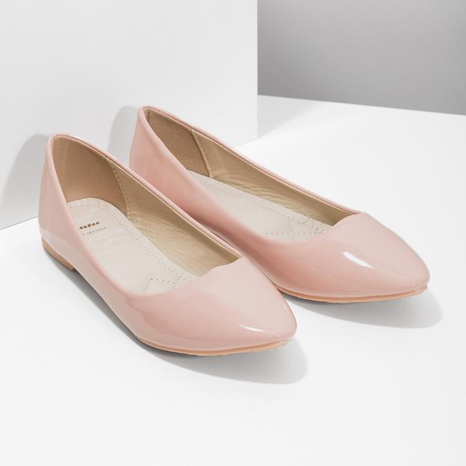 Lakované dámské baleríny bata, růžová, 521-5602 - 26