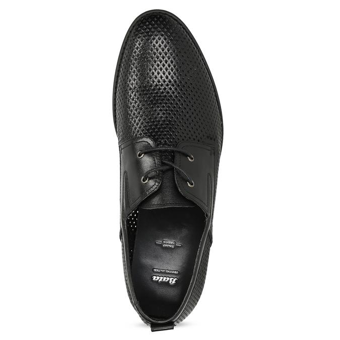Kožené polobotky s perforací bata, černá, 854-6601 - 17
