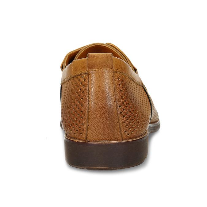 Ležérní kožené polobotky s perforací bata, hnědá, 856-3601 - 15