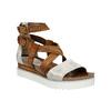 Kožené sandály na flatformě bata, hnědá, 666-1605 - 13