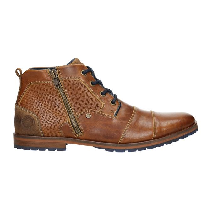 Kožená kotníčková obuv se zipem bata, hnědá, 826-3911 - 15