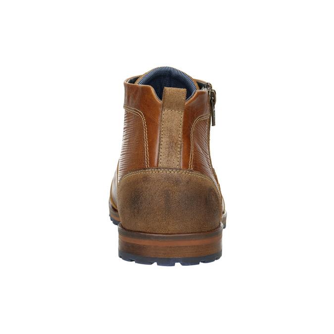 Kožená kotníčková obuv se zipem bata, hnědá, 826-3911 - 17