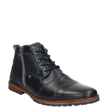 Kožená kotníčková obuv se zipem bata, modrá, 826-9911 - 13
