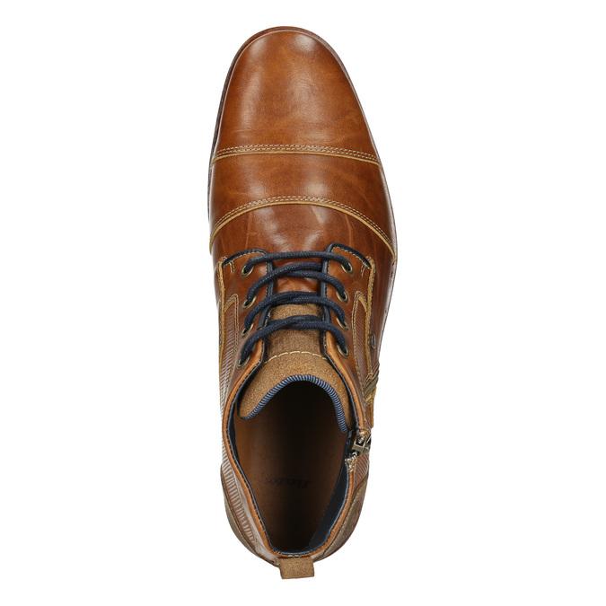 Kožená kotníčková obuv se zipem bata, hnědá, 826-3911 - 26