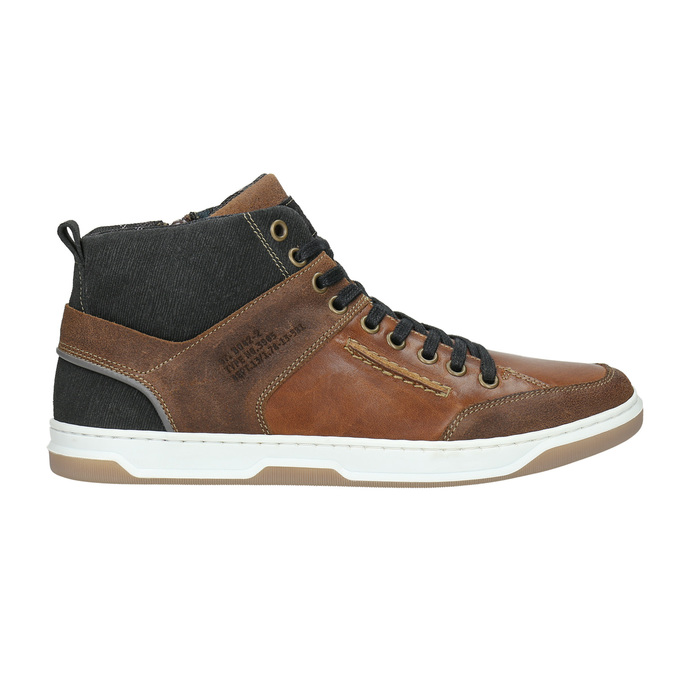 Kožené kotníčkové tenisky bata, hnědá, 846-3640 - 15