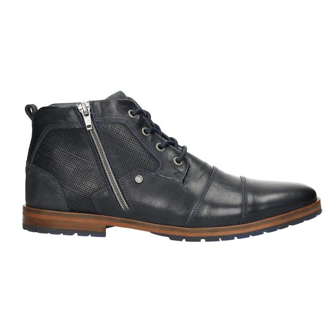Kožená kotníčková obuv se zipem bata, modrá, 826-9911 - 15
