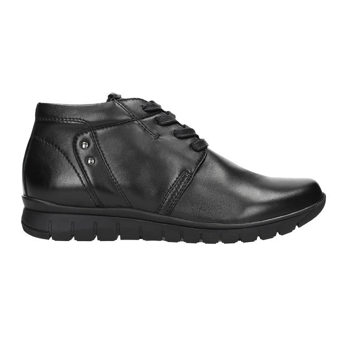 Kožená kotníčková obuv bata, černá, 524-6605 - 15