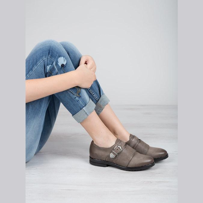 Dámské kožené polobotky bata, hnědá, 516-2612 - 19