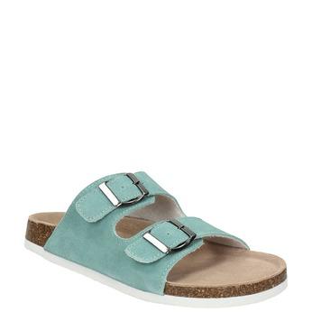 Modré kožené pantofle de-fonseca, tyrkysová, 573-7621 - 13