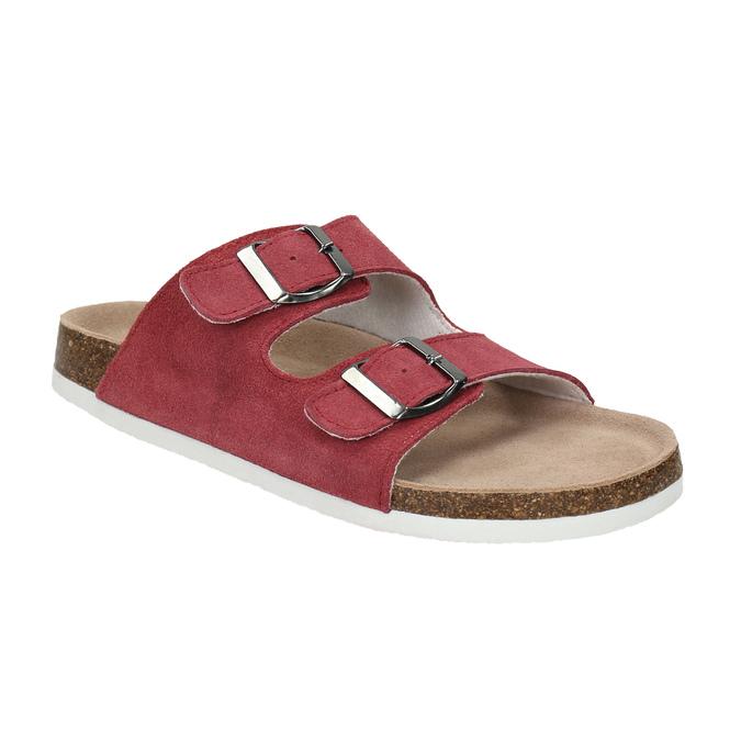 Kožené dámské pantofle de-fonseca, červená, 573-4621 - 13