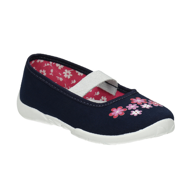 Domácí obuv s kytičkami mini-b, modrá, 379-9215 - 13