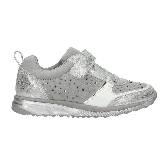 Stříbrné dívčí tenisky s kamínky mini-b, šedá, 329-2295 - 15