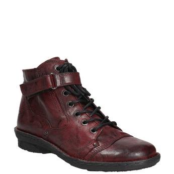 Dámská kožená kotníčková obuv bata, červená, 596-5656 - 13