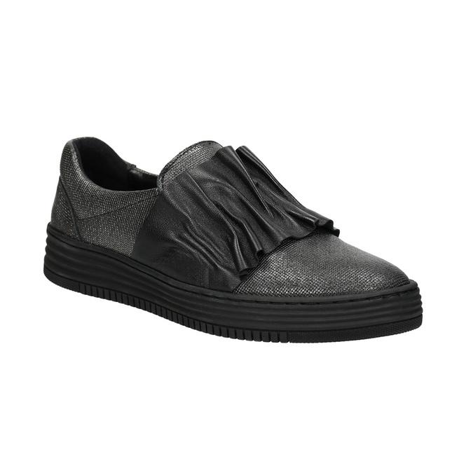 Dámské kožené Slip-on bata, černá, 516-6614 - 13