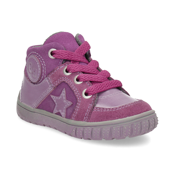 Dívčí kotníčková kožená obuv bubblegummers, růžová, 123-5601 - 13
