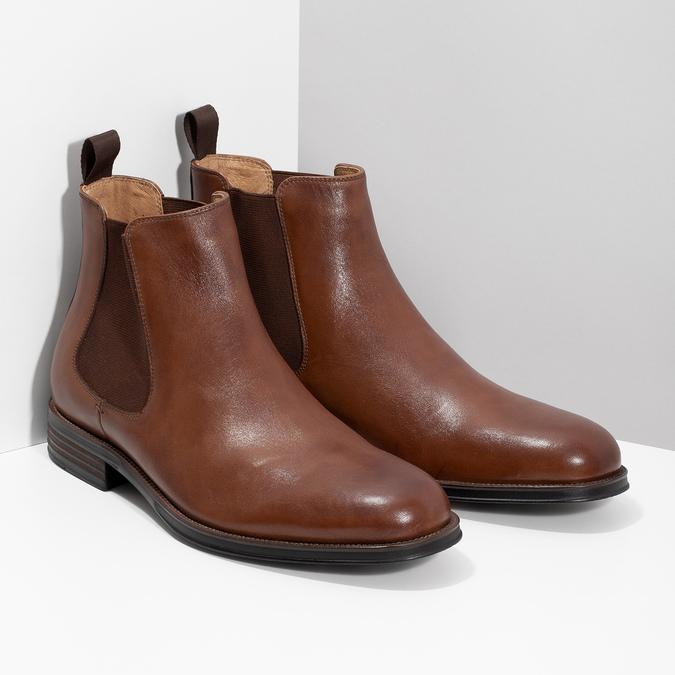 Hnědé kožené Chelsea Boots bata, hnědá, 896-3400 - 26