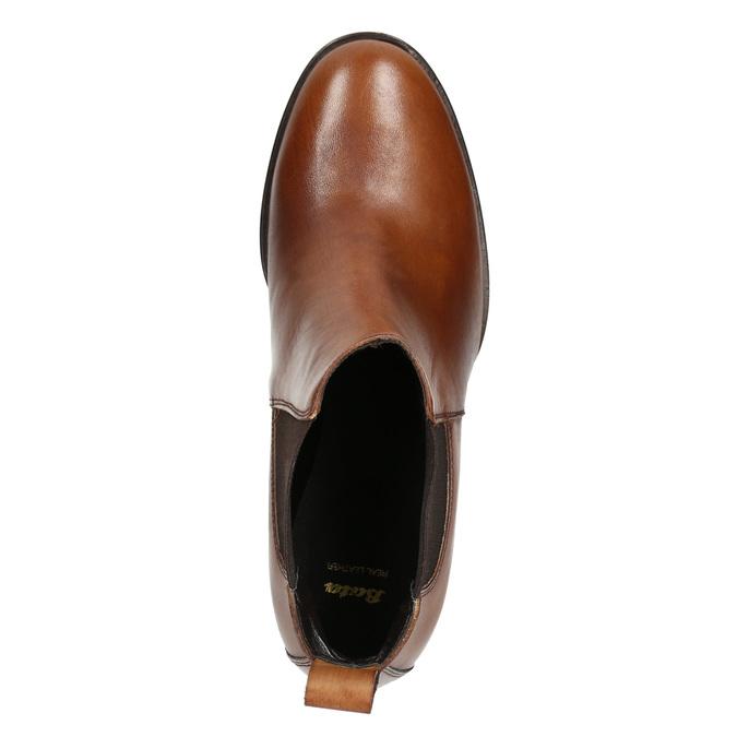 Kotníčková kožená obuv na podpatku bata, hnědá, 694-4641 - 26