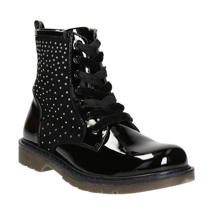 Dětská kotníčková obuv s kamínky mini-b, černá, 321-6611 - 13