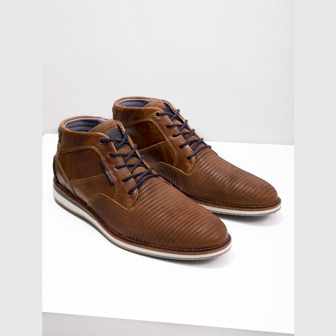 Ležérní kotníčková obuv z kůže bata, hnědá, 826-3912 - 14