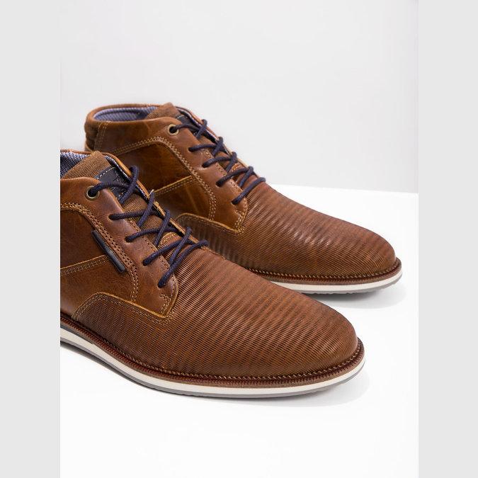 Ležérní kotníčková obuv z kůže bata, hnědá, 826-3912 - 18