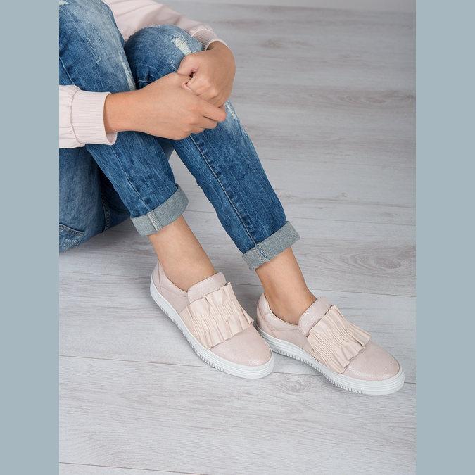 Kožené dámské Slip-on bata, růžová, 516-5614 - 18