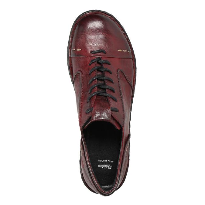 Dámské kožené polobotky bata, červená, 526-5640 - 26