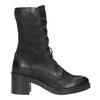 Černé kožené kozačky bata, černá, 696-6646 - 26
