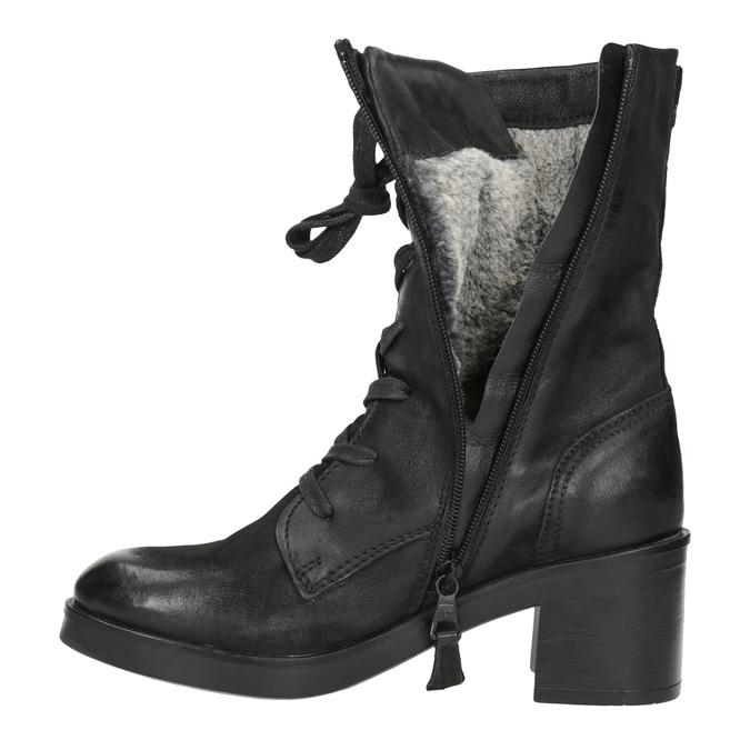 Černé kožené kozačky bata, černá, 696-6646 - 15