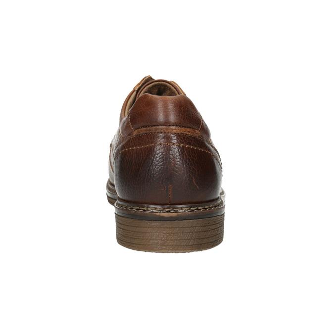 Hnědé kožené polobotky s prošitím bata, hnědá, 826-4915 - 17