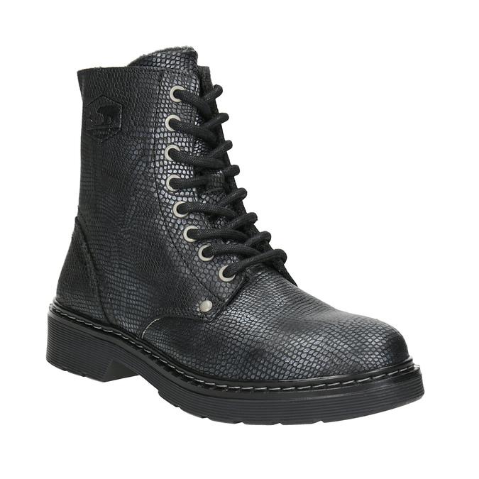 Dětské kožené šněrovací boty bullboxer, černá, 496-6016 - 13