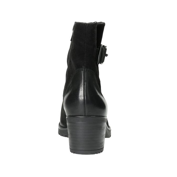 Kožené kotníčkové kozačky s přezkou bata, černá, 696-6621 - 17