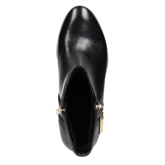 Kožená kotníčková obuv se zlatými zipy bata, černá, 594-6654 - 26