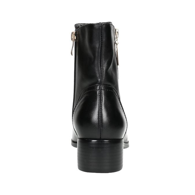 Kožená kotníčková obuv se zlatými zipy bata, černá, 594-6654 - 17
