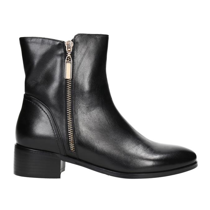 Kožená kotníčková obuv se zlatými zipy bata, černá, 594-6654 - 15