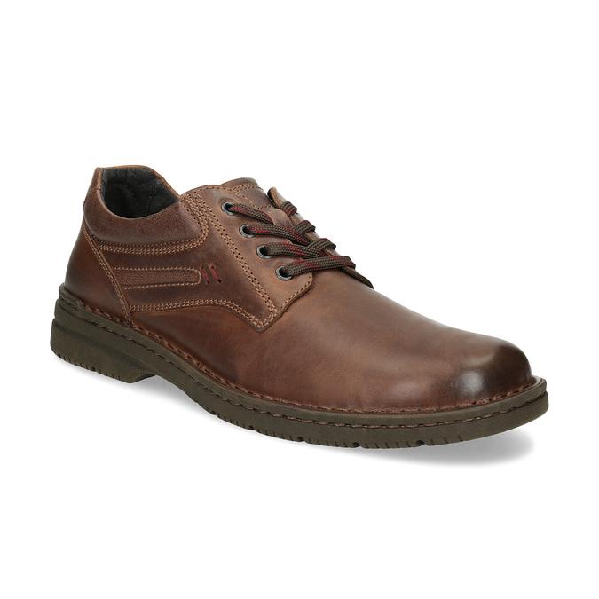 Hnědé kožené ležérní polobotky bata, hnědá, 826-4918 - 13