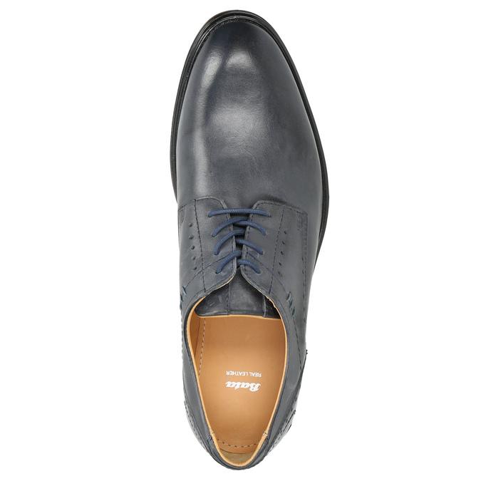 Modré kožené polobotky pánské bata, modrá, 826-9913 - 26