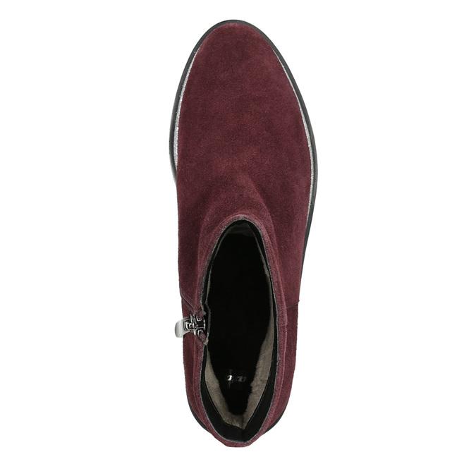 Kotníčková obuv z broušené kůže bata, červená, 593-5603 - 26