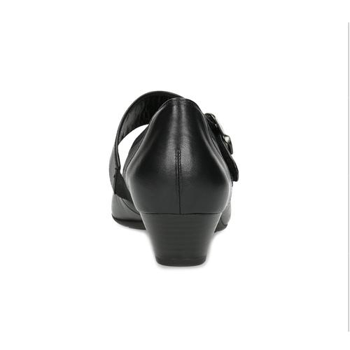 Kožené baleríny s páskem přes nárt gabor, černá, 514-6118 - 15