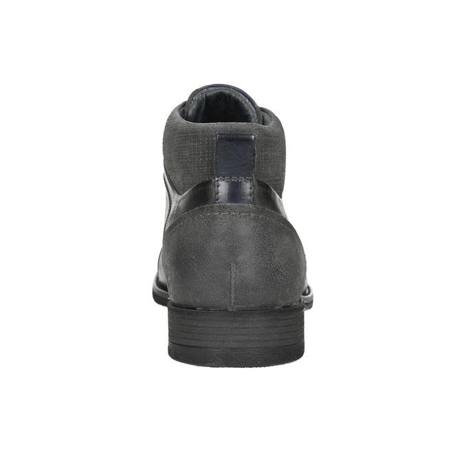 Kožená kotníčková obuv se strukturou bata, šedá, 826-2616 - 17